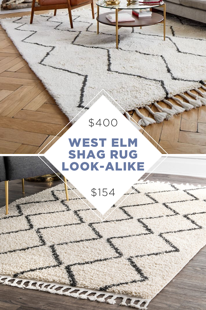 This aztec black and white shag rug is a copycat for West Elm's Souk wool rug. Looking for more home decor dupes? We've got Restoration Hardware, Pottery Barn, and more! #dupe #copycat #homedecor