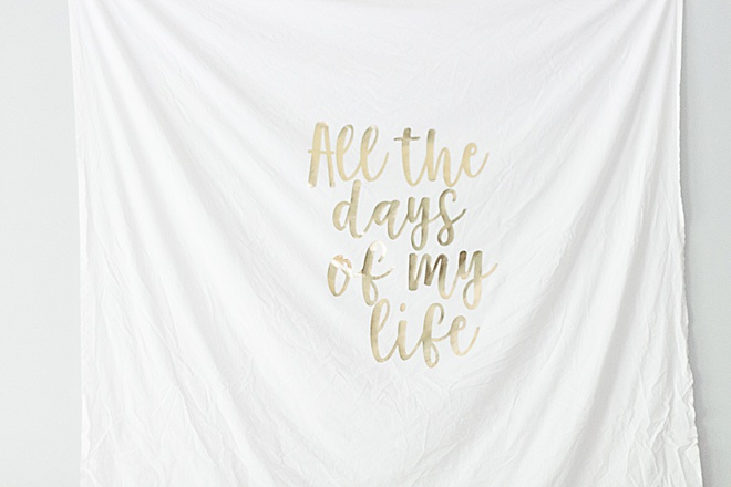 We are making a DIY gold foil wedding quote tapestry iron-on with Cricut with a multi-purpose!