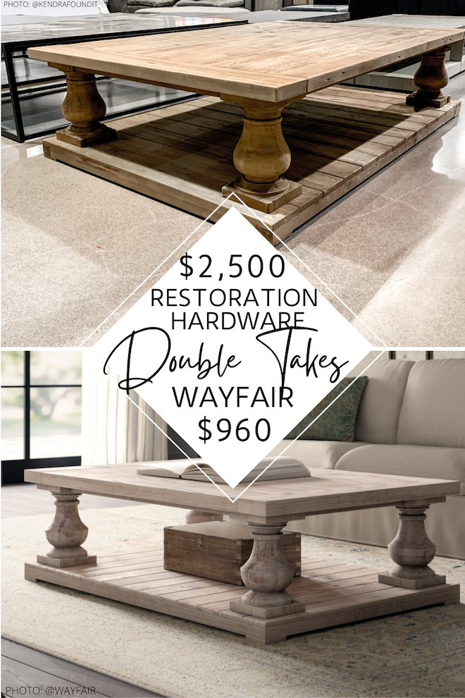 Always dreamed of having a restoration hardware living room but don't have the budget? Now's your chance! This Restoration Hardware Balustrade coffee table dupe looks just like the real thing but costs thousands less. #decor #inspo #style #design