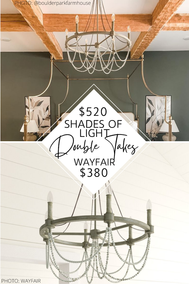 This beaded metal chandelier is a Shades of Light Rustic Drape Chandelier dupe! I'm super in to the modern farmhouse vibes and the antique style.   Since it's a decor copycat, it will save you big if you're decorating on a budget. #decor #copycat #lookalike #dupe #highlow