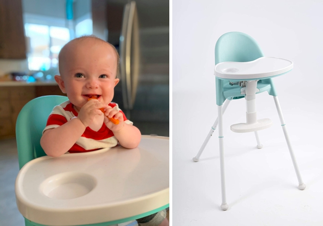 Awesome plastic high chair for Baby Led Weaning!