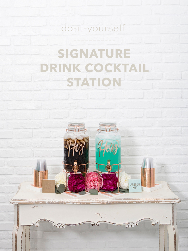 How to make an adorable signature drink cocktail station!