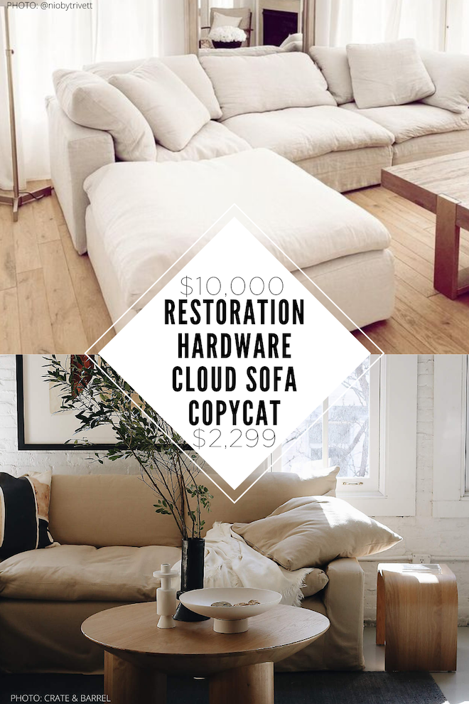 OMG there is finally a Restoration Hardware cloud couch copycat! This sofa looks just like the Restoration Hardware one, but is way less (and it's not even on sale)! It also happens to be filled with down, just like the RH version. #highlow #couch #cozy #livingroom