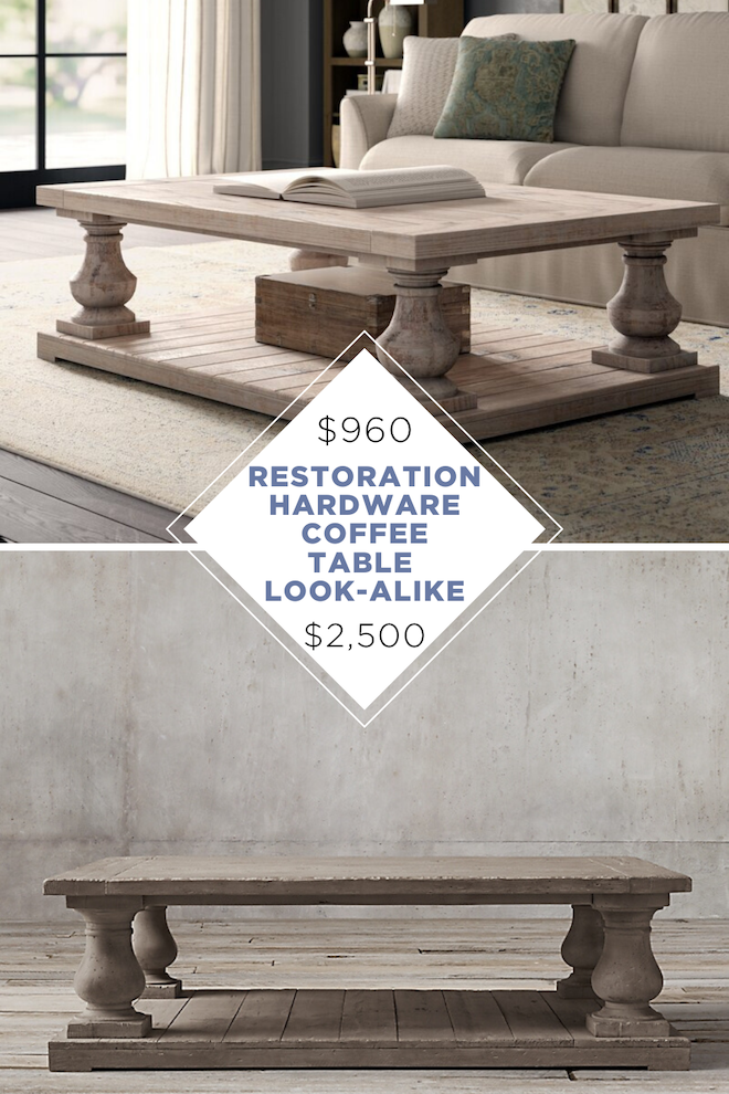 Always dreamed of having a restoration hardware living room but don't have the budget? Now's your chance! This Restoration Hardware coffee table copycat looks just like the real thing but costs thousands less. #decor #affordabledecor