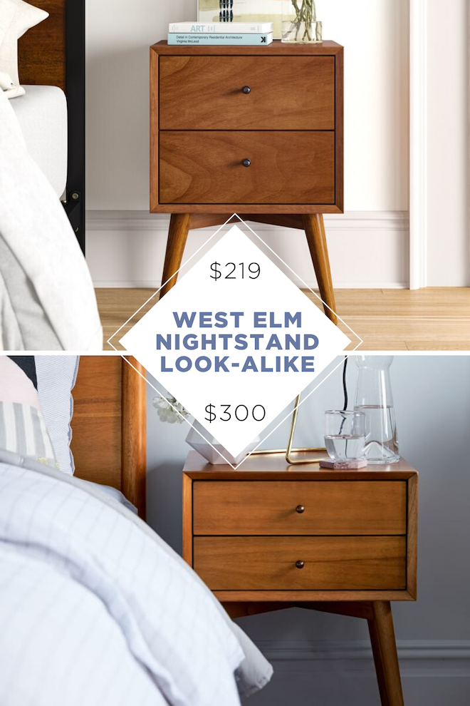 Looking for affordable decor? This West Elm copycat nightstand is $100 less and looks just like the West Elm version. P.S. Walnut/Acorn is one of my most favourite finishes in a bedroom. #bedroom #bedsidetable #mcm #highlow