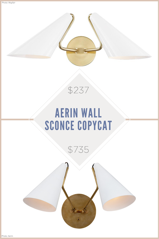 This Aerin Clemente Double Wall Sconce Copycat look JUST like the real thing. I love the gold hardware combined with the white lampshade! If you're decorating on a budget, Kendra Found It has home decor dupes, copycats, and look-alikes. These wall sconces would go great in a living room, as bedroom lighting, or in a hallway. #lighting #lights #sconces #copycat #dupe #house