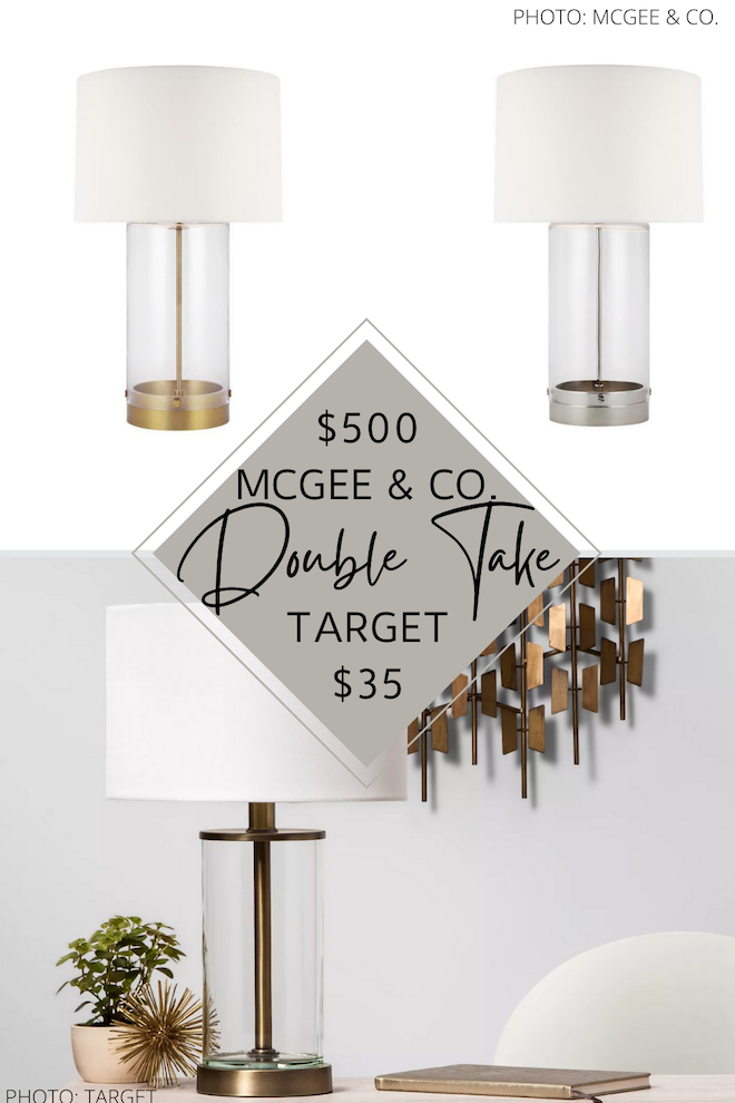 OMG I found the best McGee & Co. Allen Table Lamp dupe. The clear based table lamp with gold (or silver) accents is $500 at Studio McGee, but I found a Target dupe for just $35. If you love looks for less and are decorating on a budget, you need this home decor knockoff in your life. #inspo #decor #design #lighting Oh, and it's also fillable!