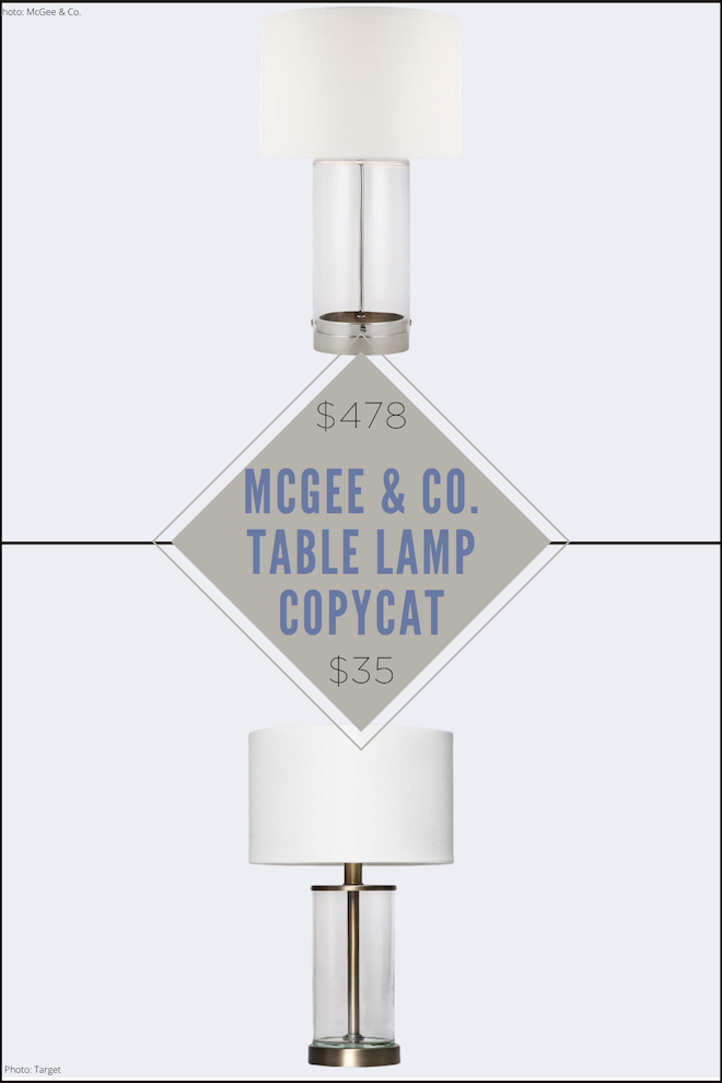 McGee & Co table lamps are so pretty, but aren't affordable. This McGee and Co. Allen table lamp copycat looks just like the original, but is only $35! Bonus: this light has a built in USB plug. Oh, and it's also fillable!  #lighting #design #decor #light #lamp #clear
