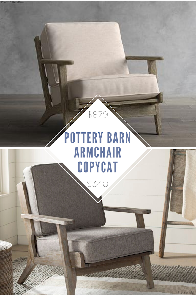 """Would you check out this Pottery Barn Raylan Upholstered Armchair copycat?!  It looks so similar but costs way less (and it's not even on sale!). I love the """"living room with 2 armchairs"""" look and this is a great way to do it on a budget. If you want more pottery barn dupes, we have many! #dupe #copycat #accentchair #seating #inspo #house #home #decor"""