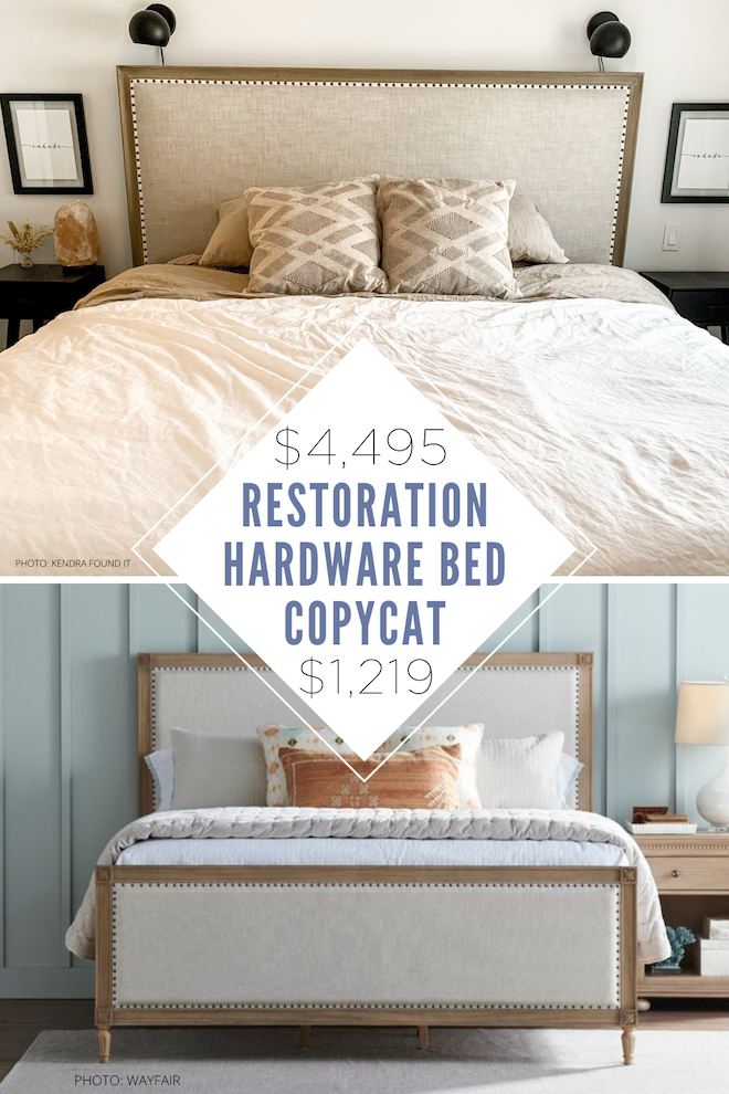 Always dreamed of having a Restoration Hardware bedroom? This restoration hardware maison bed dupe is everything! I've always wanted a Restoration Hardware bedroom and since I'm decorating on a budget, this is how I can get it! If you're looking for affordable home decor, copycat decor, home inspiration, and home dupes, follow Kendra Found It. #dupe #copycat #lookalike #master #bed #house