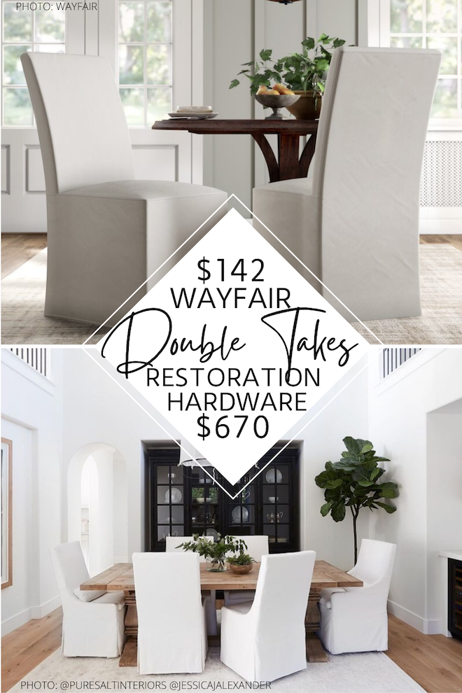 This Restoration Hardware Parsons slipcover dining chair copycat will save you thousands! These would go perfectly with my weathered european / shabby chic dining table as our dining room seating. If you're decorating on a budget and love look for less, you need this dupe in your life.  #seating #linen #chairs #dining #classy #decor