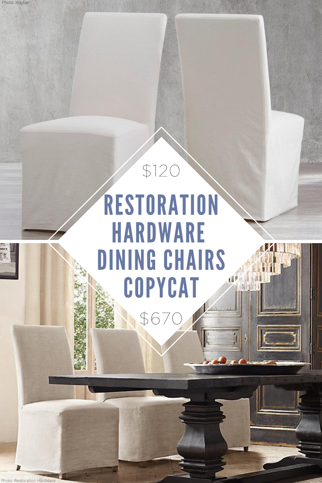 This Restoration Hardware Parsons slipcover dining chair copycat will save you thousands! These would go perfectly with my weathered european / shabby chic dining table as our dining room seating. #seating #linen #chairs #dining #classy #decor