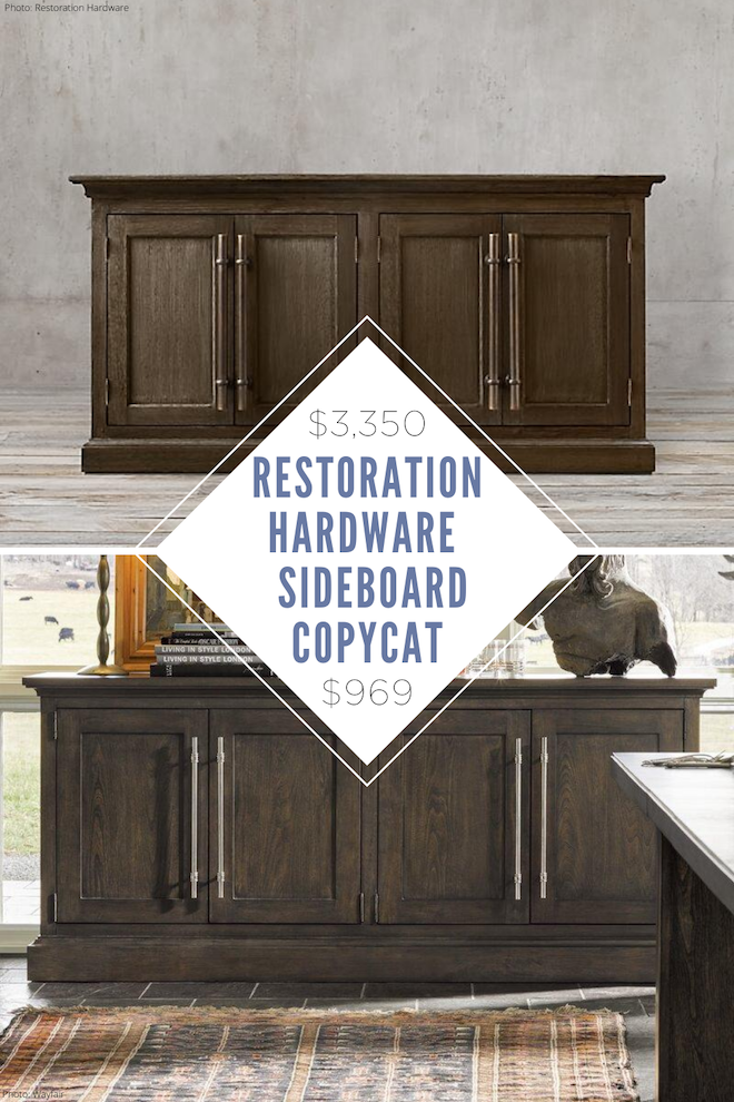 This Restoration Hardware Brass Bar Pull Panel 4-Door Sideboard copycat looks just like RH, but costs thousands less! If you're looking for Restoration Hardware dupes, we have so many for you. Copycat decor is the best way to decorate on a budget. #home #house #tvstand #sideboard #wood #furniture #lookalike