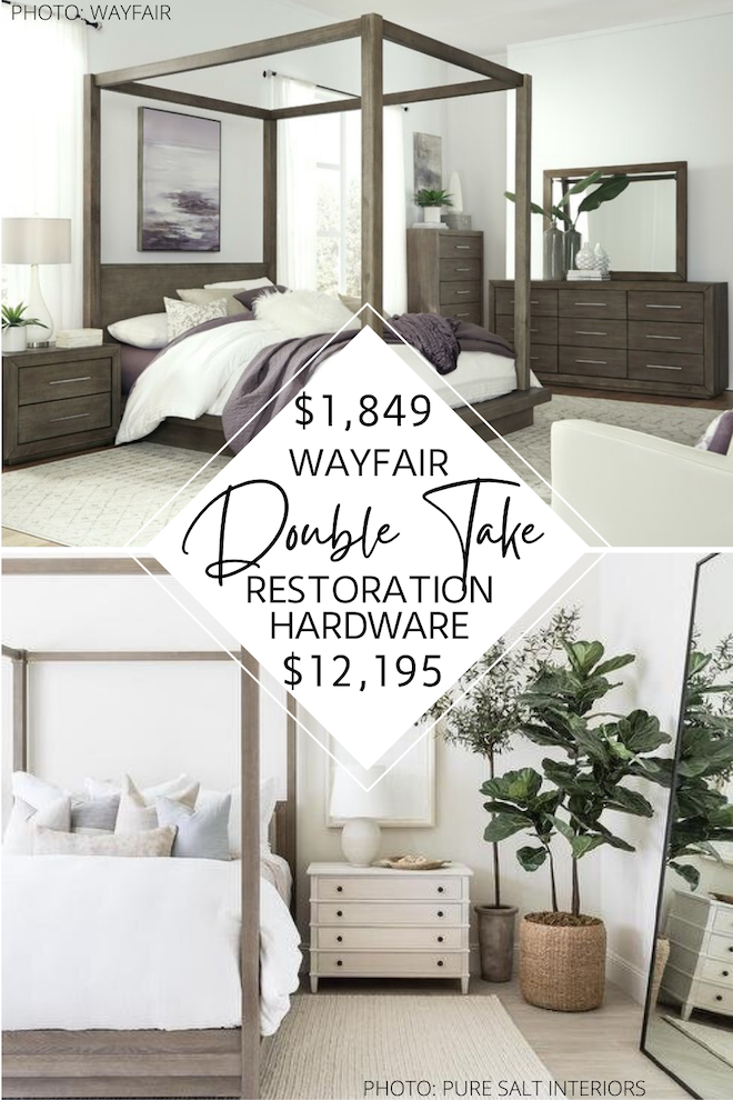 This Restoration Hardware Reclaimed Russian Oak Canopy Bed dupe is major decor inspiration! If you've always dreamed of having a Restoration Hardware bedroom, this is how you can get the look for less. Follow Kendra Found it for Restoration Hardware dupes, copycat decor, home decor inspiration, and sale alerts. #bed #canopy #bedroom #lookalike #copycat #decor