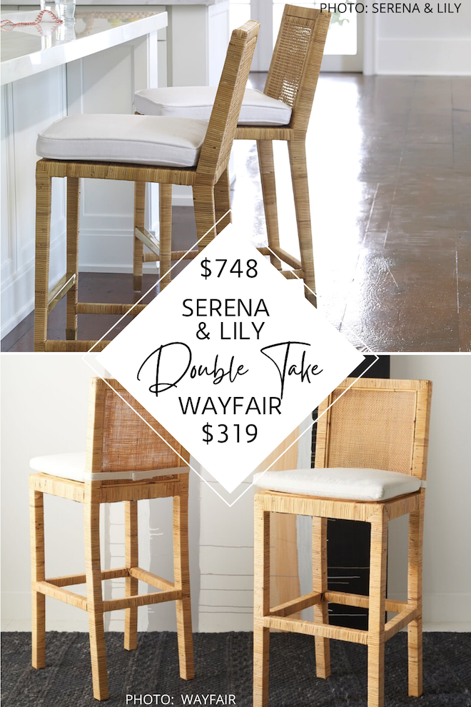 Can we just talk about this Serena and Lily Balboa Counter Stool dupe!? The rattan barstool has tropical, breezy vibes and would go perfectly in a contemporary, coastal home. If you're looking for coastal or boho bar stools, these copycats will save you over $400 per stool! #inspo #design #sale #discount