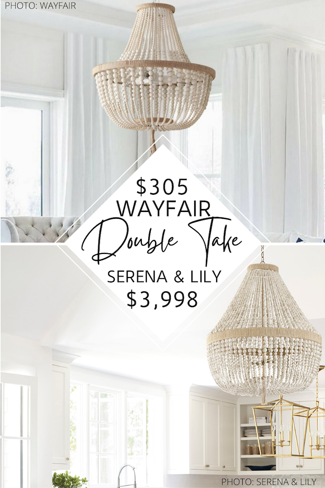 OMG Finally! A Serena and Lily Ventura chandelier copycat! I've been obsessed with this hemp-wrapped, beaded chandelier for years but was decorating on a budget. This would be a great light for above our dining room table or as our living room lighting. If you love Serena and lily furniture, you've got to see this dupe. #chandelier #lighting #knockoff #copycat #lookalike
