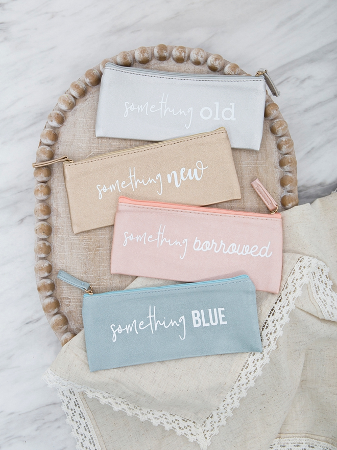 Create your own adorable something old, new, borrowed, and blue pouches!