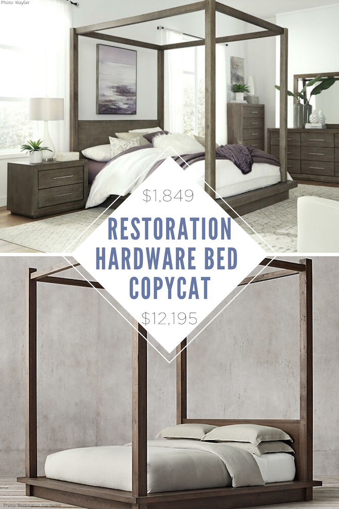 This Restoration Hardware Reclaimed Russian Oak Canopy Bed Copycat is major decor inspiration! I've loved this bed since I saw it, but couldn't justify $12,000 (who can?!). Follow Kendra Found it for Restoration Hardware dupes, copycat decor, home decor inspiration, and sale alerts. Restoration Hardware bedroom, here I come! #bed #canopy #bedroom #lookalike #copycat #decor