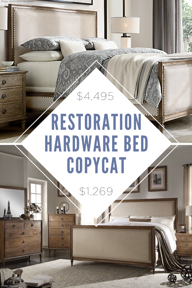 This restoration hardware maison bed copycat is everything! I've always wanted a Restoration Hardware bedroom and since I'm decorating on a budget, this is how I can get it! If you're looking for affordable home decor, copycat decor, home inspiration, and home dupes, follow Kendra Found It. #dupe #copycat #lookalike #master #bed #house