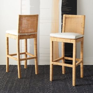 Serena and Lily counter stool dupes and bar stool copycats. #kitchen #decor #design #knockoff