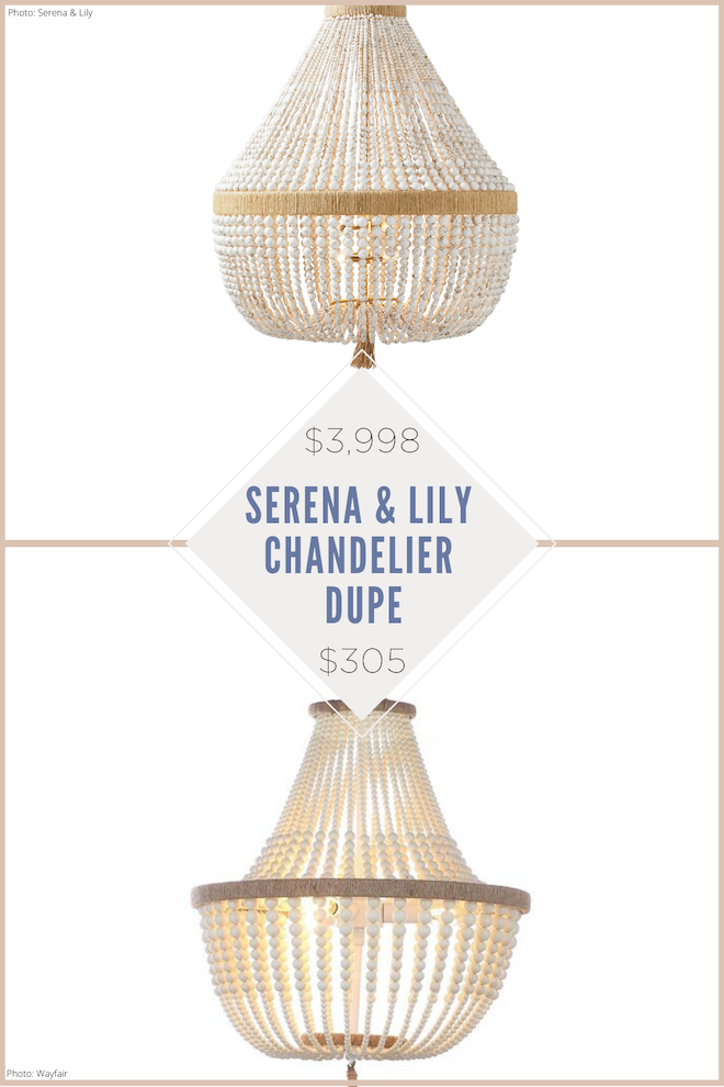 OMG Finally! A Serena and Lily Ventura chandelier copycat! I've been obsessed with this hemp-wrapped, beaded chandelier for years but was decorating on a budget. This chandelier dupe looks similar to the Serena and Lily version, but is way more affordable. This would be a great light for above our dining room table or as our living room lighting. #chandelier #lighting #natural #copycat #lookalike #dupe