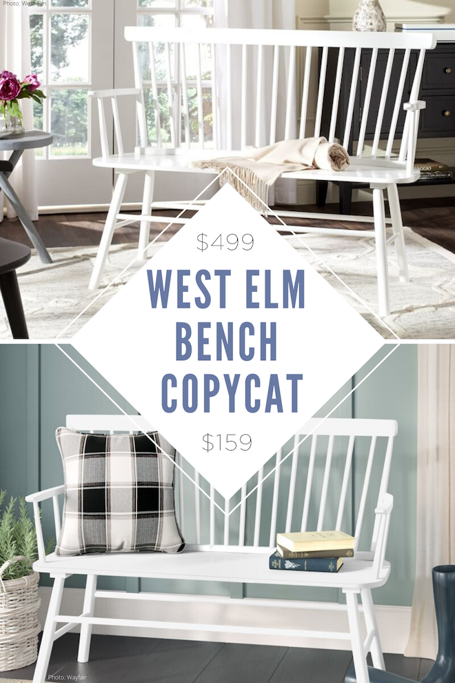 I love this West Elm Spindle Back bench copycat! This would be the perfect entryway bench and is a little modern farmhouse and a little minimalist chic. I'm redecorating our entire home, so I'm definitley decorating on a budget. Home decor copycats and dupes are the way to go! This bench reminds me of a Windsor bench but is super affordable. #bench #chair #dupe #copycat #house #decor