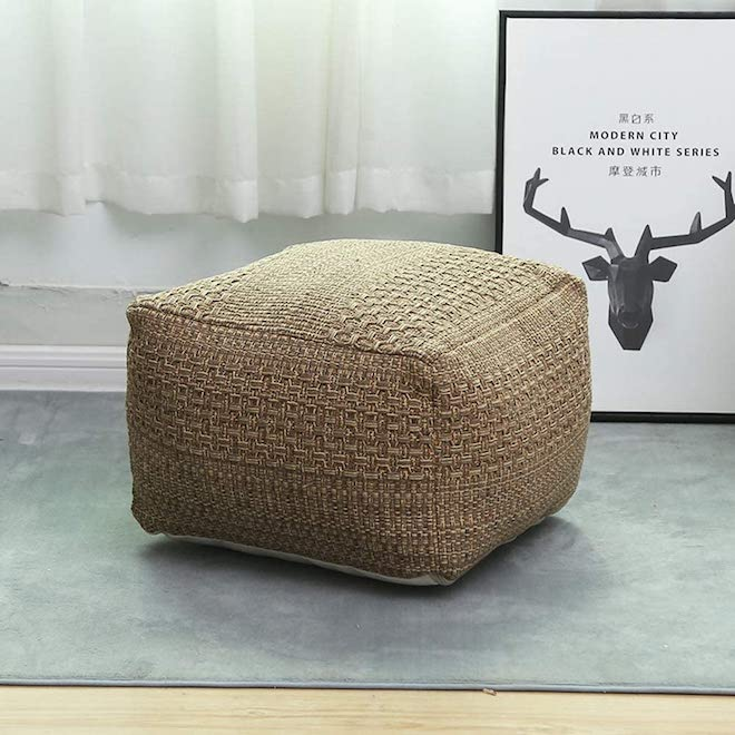 If you're willing to stuff a floor pouf yourself, you can save BIG on one. This natural, boho pouf is just $20 and made to stuff yourself; use old blankets, towels, clothes, or even plush toys. #pouf #moroccan #floor #seating #inspo #decor #home
