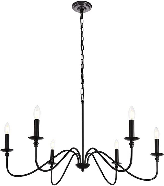 This Amazon black matte chandelier looks just like the Pottery Barn Lucca chandelier but it's WAY more affordable. This copycat is $500 less and just as much farmhouse chic. #dupe #decor #amazonfinds #lookalike #copycat