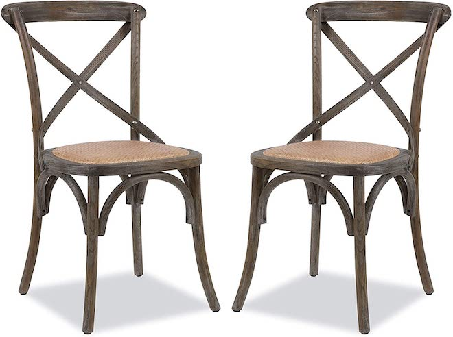 Another Restoration Hardware copycat! These cross-back and cane chairs look just the Restoration Hardware Madeleine Side Chair. They would look great with a farmhouse-chic dining table and just as well with a European boho space. #chairs #dupe #lookalike #dining #inspo #seating