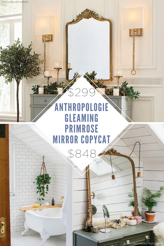 This anthropologie gleaming primrose mirror copycat is everything! This dupe looks just like the real thing but is way more affordable!  Oversized, vintage mirrors are so in right now, so this is my kind of lookalike. #decor #mirror #home #knockoff #budget