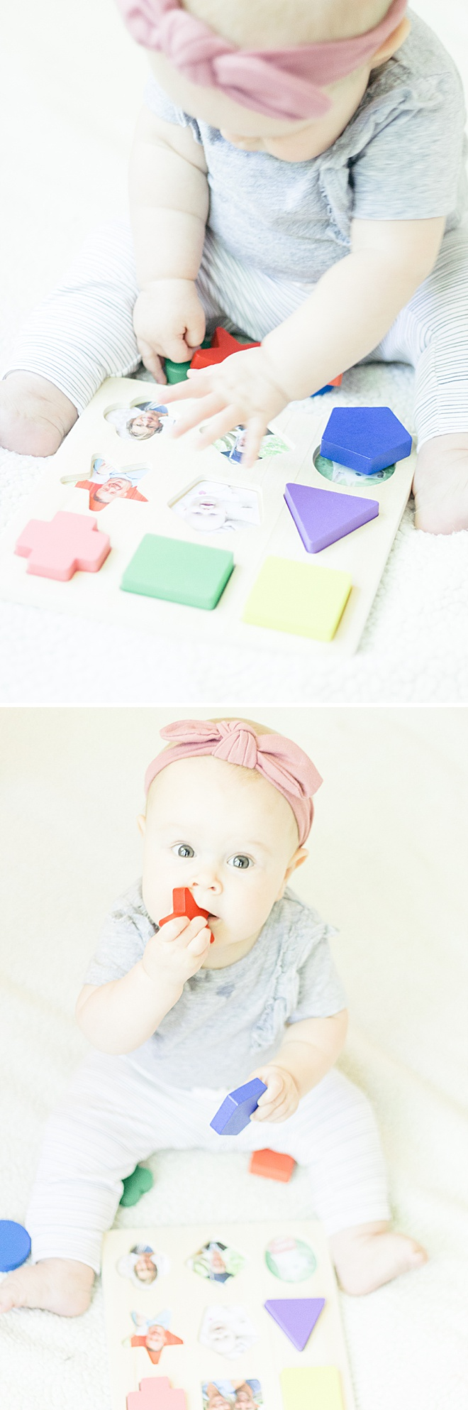 Your baby loves seeing faces! Make this custom puzzle filled with loved ones to help your baby's memory and dexterity!