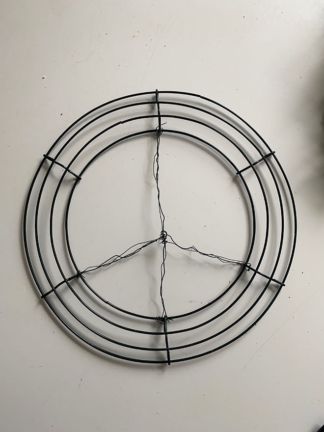 Simple DIY peace sign wreath.