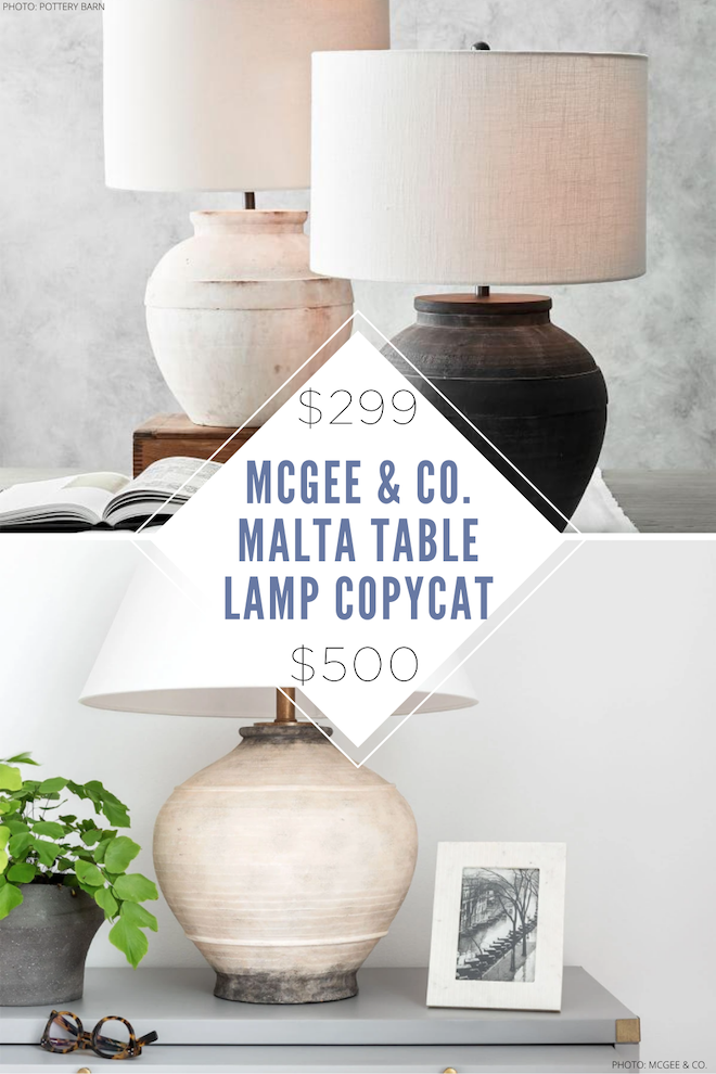 A McGee & Co. Malta Table lamp copycat does exist! This earthy, vintage, chalky table lamp would look SO good in my living room, home office, or bedroom. I love the vintage vibe and rough texture. The best part is that it's $200 less than the original and it comes in black and white. #design #shades #redo #farmhouse