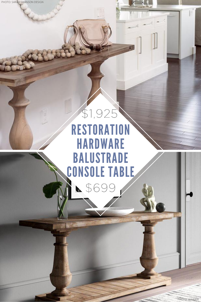 This restoration hardware Balustrade console table is what entryway table dreams are made of! The best part? I've got a side table copycat that looks just like the real thing but is way more affordable. Entryway tables are a great way to decorate a small space and a dupe is the best way to do it on a budget.  #ideas #decor #inspo #design #decor
