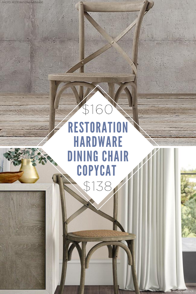 Finally! A Restoration Hardware Madeleine Side Chair copycat. If you've always dreamed of having a Restoration Hardware dining room, now is your chance. This dupe looks just like the real thing but is way more affordable. I'm so in love with the weathered oak and caning. #lookalike #knockoff #chair #chairs #inspo #oak #decor