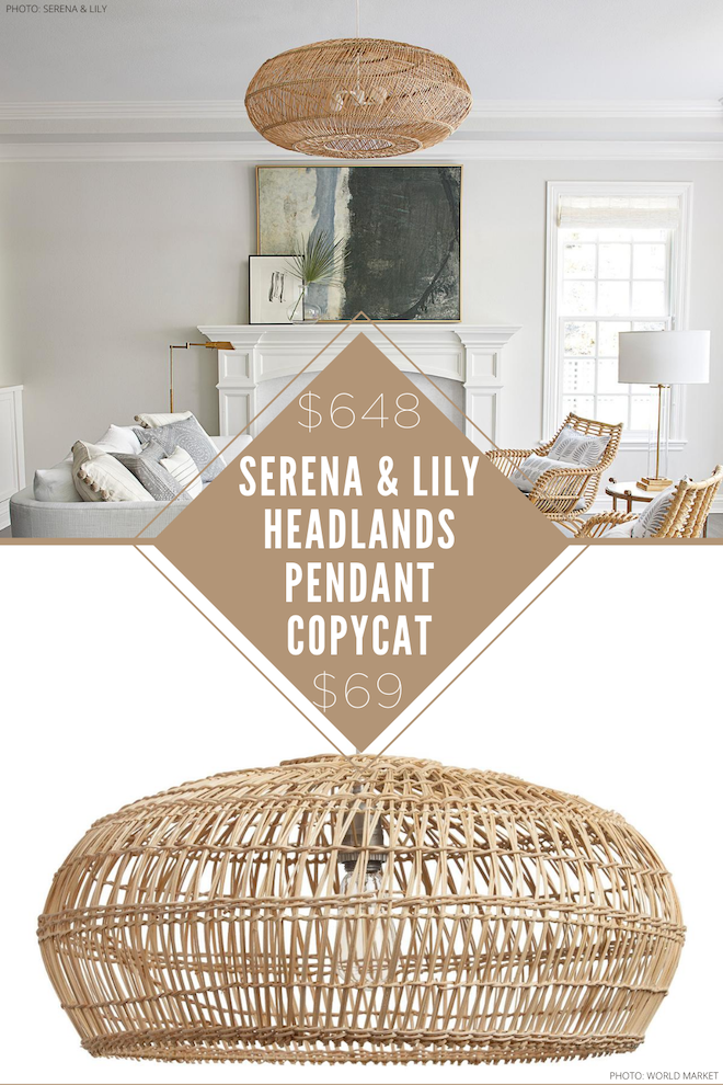 Affordable decor alert! This Serena & Lily headlands pendant copycat is a game changer. I love the ring shape, bamboo material, neutral tones, and mesh (wicker looking) finish. I could see this dupe as my kitchen lighting, as the pendants in our home office, or even as our living room lighting. #lookalike #copycat #lighting #inspo #ideas #decor #natural