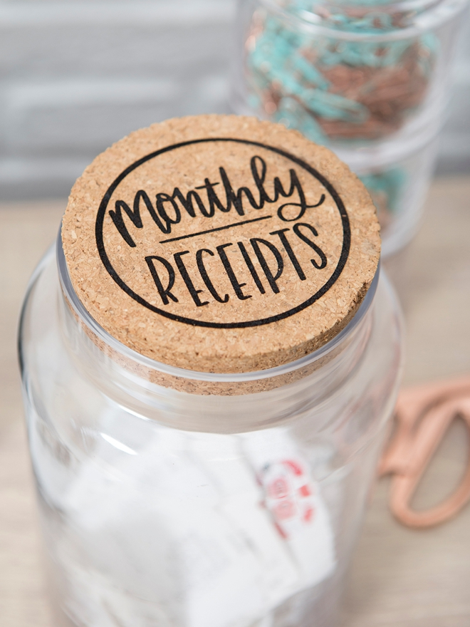 Make your own Monthly Receipts jar with our SVG file!