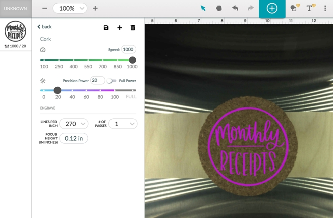 The BEST cork engrave settings for the Glowforge