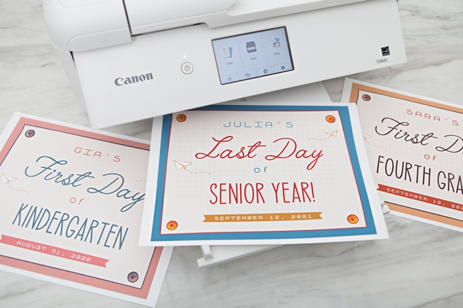 Print these custom first and last day of school signs for free!