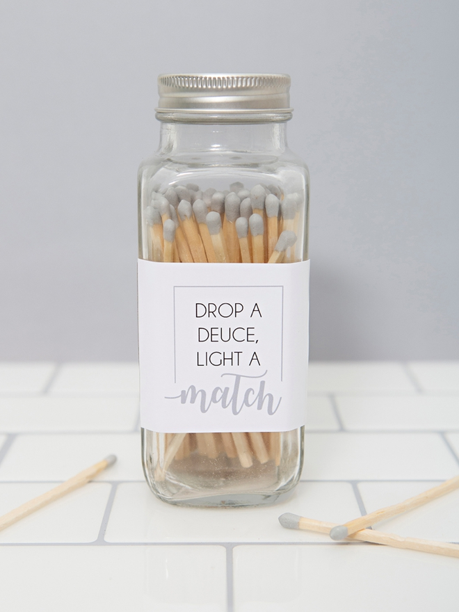 Drop a deuce and light a match, free printable labels
