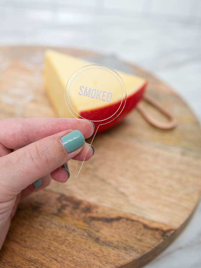 Use our exclusive SVG file to make your own acrylic cheese markers!
