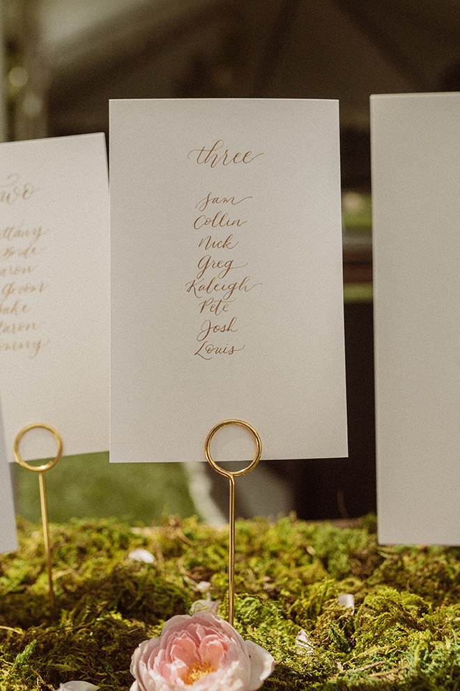 DIY creative seating chart display perfect for a garden wedding