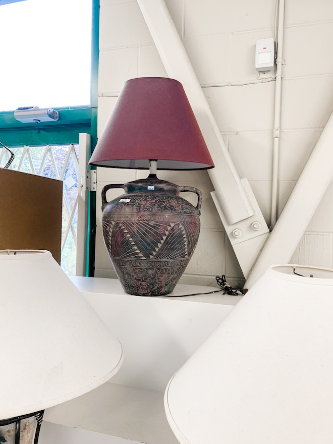This thrift store transformation is everything! I took a vintage lamp and gave it a makeover that you don't believe. If you love easy DIYs and home decor, you HAVE to see this. #found #home #lamp #terracotta