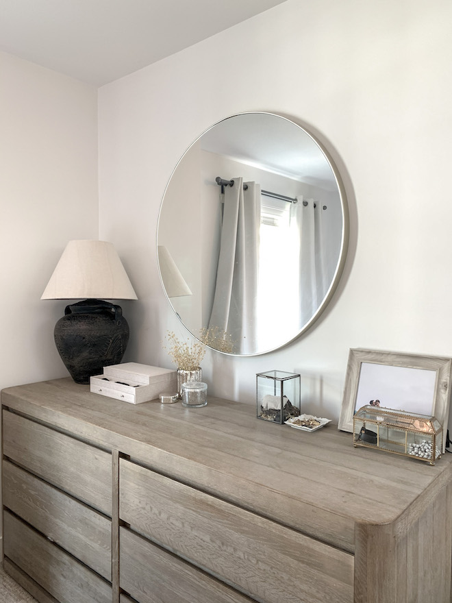 Would you believe this table lamp is a DIY from a thrift store?! If you're looking for DIY lamp ideas, you've got to see this. Love the neutral vibes, natural decor, and rustic touches. #makeover #transformation #decor #inspo #distressed