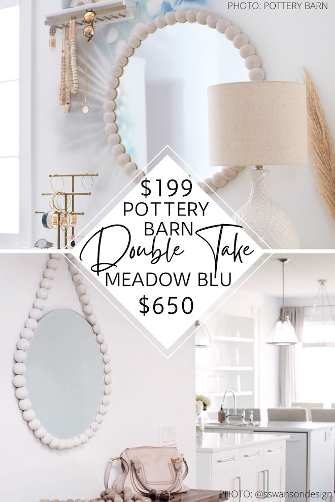 I found a Meadow Blu Dovetail Tess white ball mirror copycat and it will save you hundreds! I've loved this feminine mirror forever and now I've found a more affordable dupe for it. It would look great in a living room, entryway, bedroom, or dining room. Love me a good wood ball mirror! #design #interior #nursery #wall #wall #decor #home