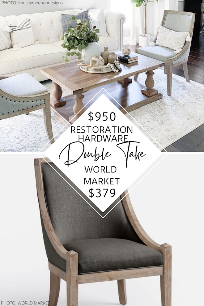 Always wanted a Restoration Hardware dining room? You're in luck! This Restoration Hardware 19th century dining chair copycat looks just like the real thing but is way more affordable. This linen chair is a perfect decor dupe and will help you decorate on a budget. If you love decorating on a budget, I'm your gal. #dupes #inspo #style #home #diningrooms #budget #lookalike