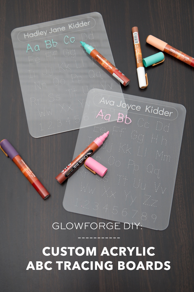 Custom acrylic letter tracing boards with your Glowforge!