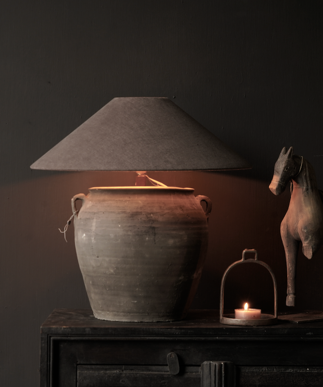 """Beautiful old jug table lamp with vintage, """"found"""", earthy, chalky vibes. I love the oversized vibe - it would look so pretty in a living room, dining room, or bedroom. #decor #lighting #inspo"""