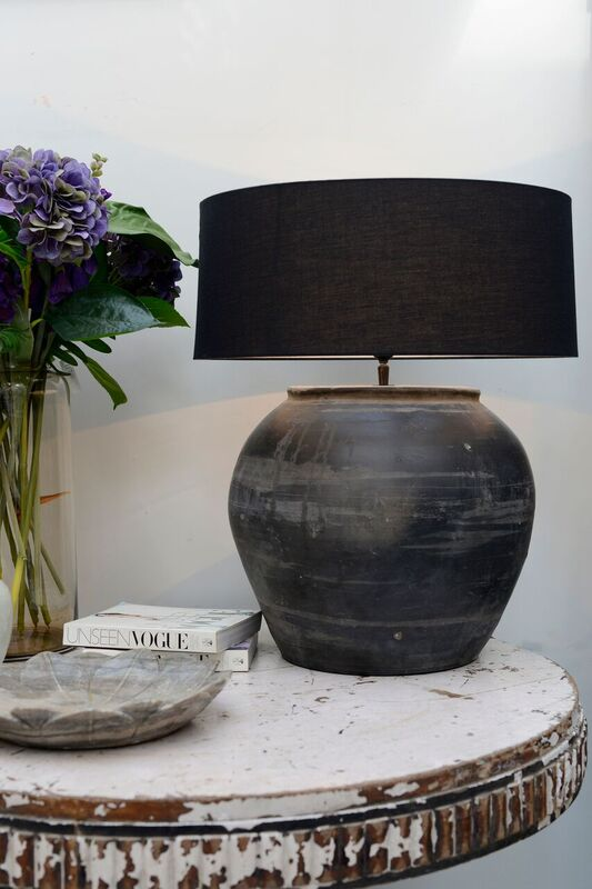 """Love this oversized black, distressed """"found"""" lamp. It looks like Pottery Barn or McGee and co and would look so great in a living room, bedroom, or entryway. #inspo #decor #home #house #lighting"""
