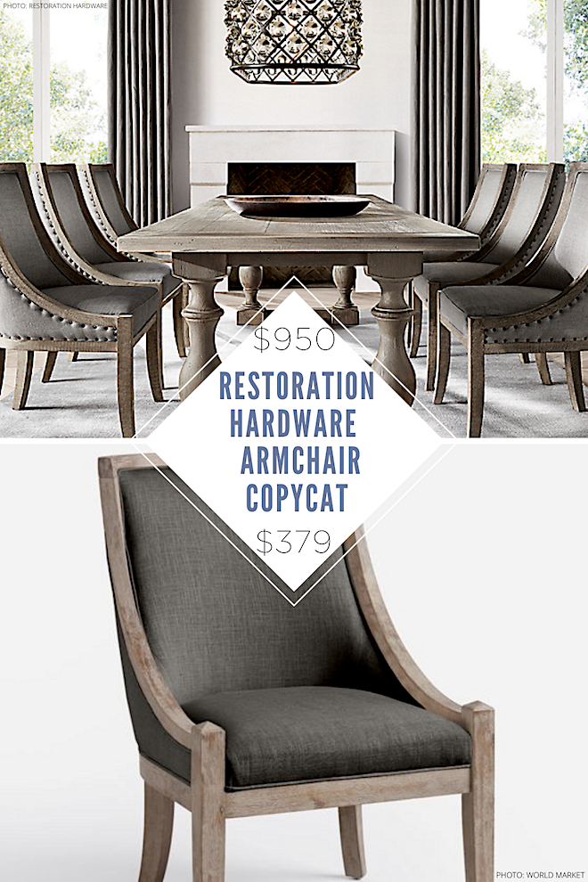 If you've always dreamed of having a Restoration Hardware dining room, you need this Restoration Hardware copycat in your life! These dining chairs are perfect dupes for Restoration Hardware's 19th Century French Empire Fabric Armchair. These linen fabric chairs are so classic and elegant - I love the distressed wood. #dupes #inspo #style #design #lookalike